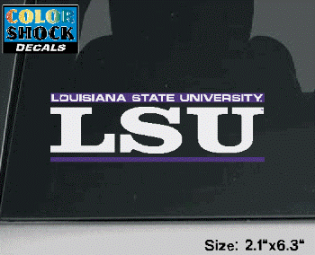 Color Shock LSU Tigers White and Purple Bar Design Decal 2.1 x 6.3""