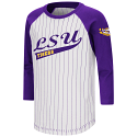 LSU Youth Purple & White Striped Longsleeve Baseball Tee