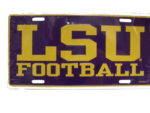 LSU Tigers Metal College Vault Classic Football License Plate - Purple and Gold