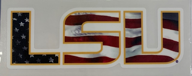 LSU Tigers American Flag Decal 6""