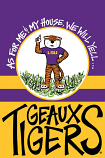 LSU Garden Flag As for Me & My House, We Will Yell...Geaux Tigers