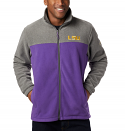 Columbia LSU  Men's Full Zip Flanker III Fleece Jacket - Purple & Charcoal