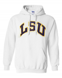 Bayou LSU Tigers Adult Unisex White Arched Logo Hoodie