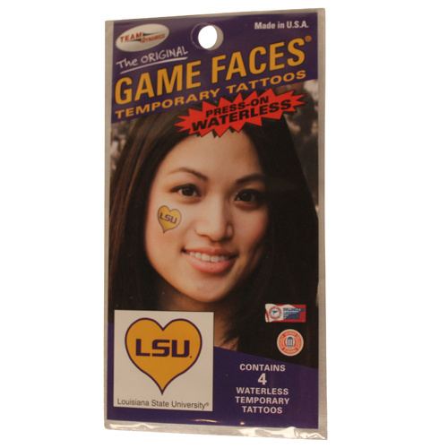 LSU Tigers Game Faces Heart Press-On Waterless Tempory Tattoos