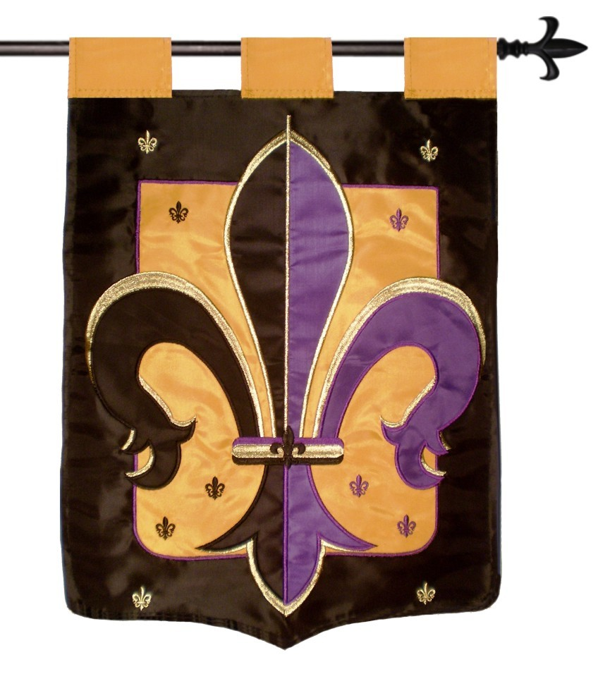 "Game Day Purple and Gold and Black Team Colors Double Sided Appliqued Banner - 29""x42"""