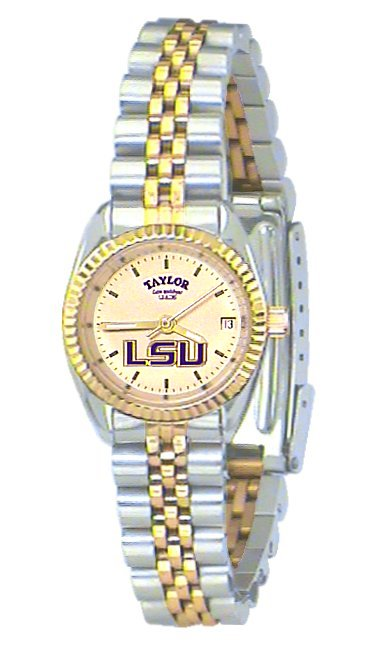 LSU Women's Classic 2-Tone Watch with Gold Face Purple LSU Custom Made by Taylor Watches