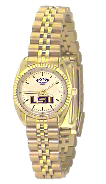 LSU Women's Classic Gold Watch with Gold Background Custom Made by Taylor Watches