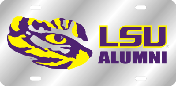 LSU Tigers Laser Cut Alumni Tiger Eye License Plate - Silver