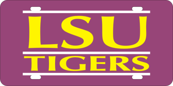 LSU Tigers Laser Cut LSU Tigers Bar Design Logo Mirrored License Plate - Purple
