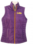 LSU Women's Purple Full Zip Puffy Vest