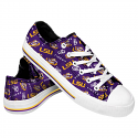 FOCO LSU Women's Low Top Repeat Print Canvas Tennis Shoe