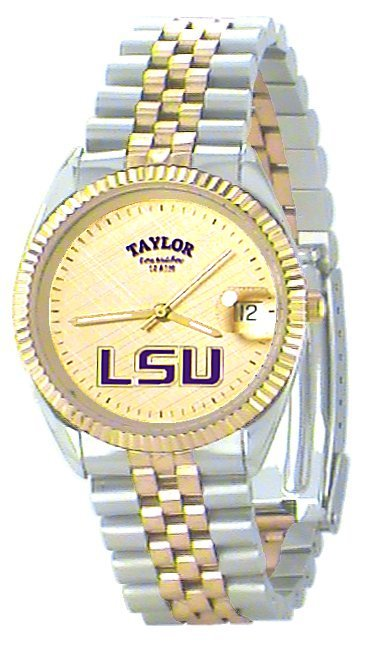 LSU Men's Classic 2-Tone Watch with Gold Face Purple LSU Custom Made by Taylor Watches
