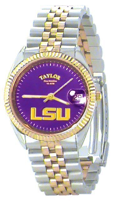 LSU Men's Classic 2-Tone Watch with Purple Face Gold LSU Custom Made by Taylor Watches