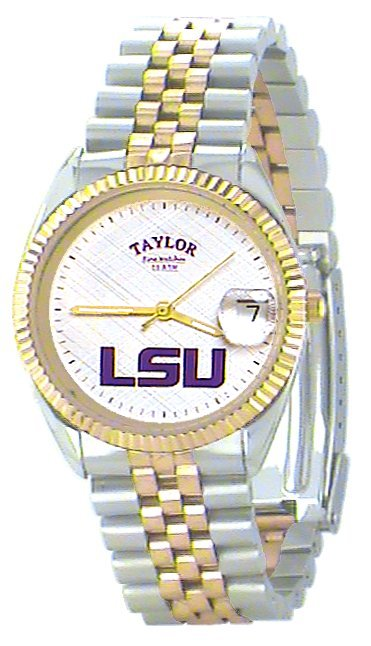 LSU Men's Classic 2-Tone Watch with White Face Purple LSU Custom Made by Taylor Watches