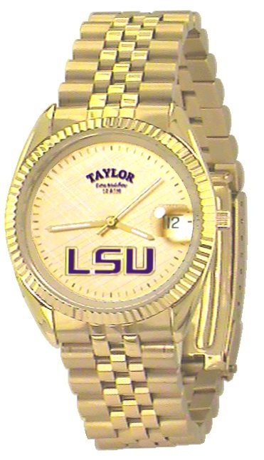 LSU Men's Classic Gold Watch with Gold Face Purple LSU Custom Made by Taylor Watches