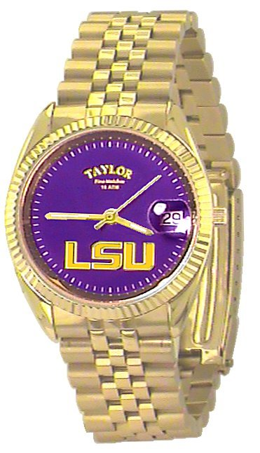 LSU Men's Classic Gold Watch with Purple Face Gold LSU Custom Made by Taylor Watches