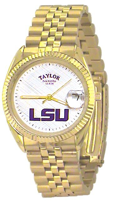 LSU Men's Classic Gold Watch with White Face Purple LSU Custom Made by Taylor Watches