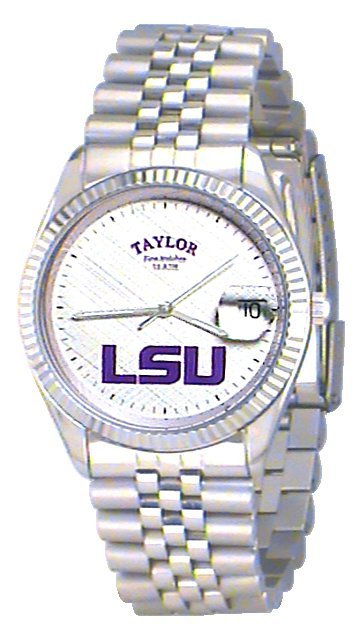 LSU Men's Classic Silver Watch with White Face Purple LSU Custom Made by Taylor Watches