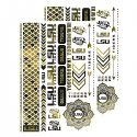 LSU Tigers 2-Sets of Temporary Metallic Foil Body Jewelry Tattoos - Black and Gold