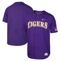Nike LSU Men's Purple Full-Button Vapor Performance Baseball Jersey - Purple