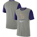 Nike LSU Men's Heathered Grey & Purple Baseball Performance Cotton Slub Tee