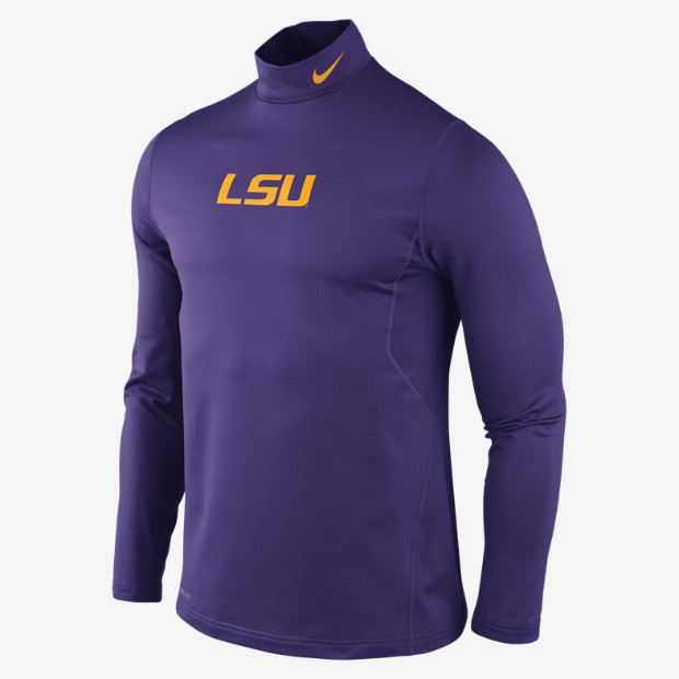 Nike LSU Tigers Men's Pro Combat Hyperwarm Long Sleeve Performance Shirt - Purple