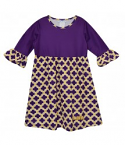 LSU Toddler Girl's Performance Quatrefoil Amy Dress - Purple, Gold & White