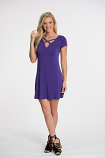 Boutique Women's Cap Sleeve Multi-Wear Criss-Cross or Scoop Neck Dress - Purple