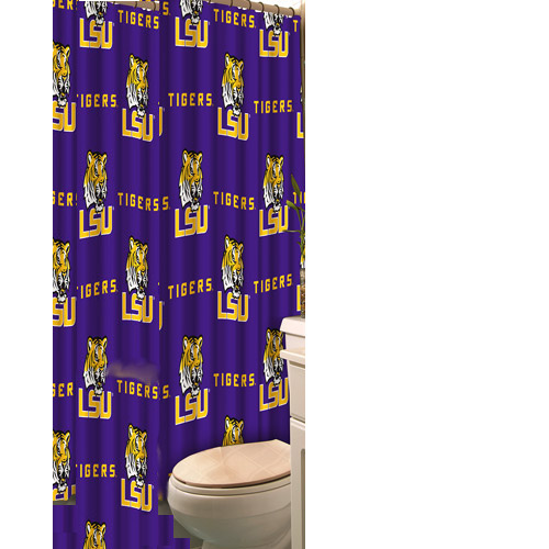 "LSU Tigers All Over Print Polyester Fabric Shower Curtain 72"" x 72"" - Purple"