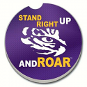 LSU Stand Right Up and Roar Absorbent Stone Car Coaster