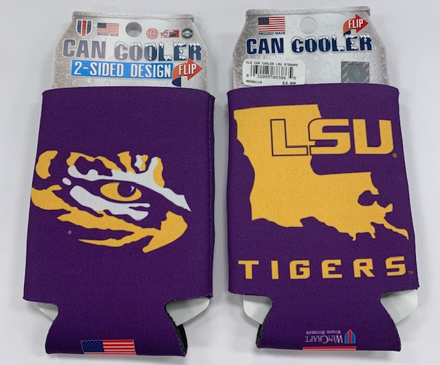 LSU Tigers State Double Sided Can Coozie