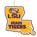"LSU Wooden 5"" State-Shaped Ornament"