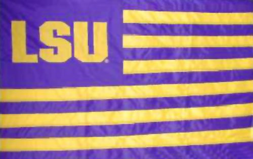 LSU Tigers 3'x5' Appliqued Striped Block Letters Flag with Grommets