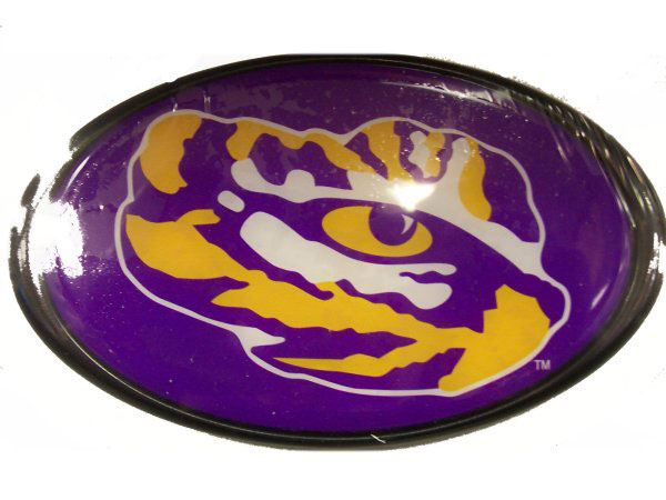 """LSU Tigers Oval Tiger Eye Logo Hitch Cover for 1.25"""" or 2"""" Receiver - Purple"""