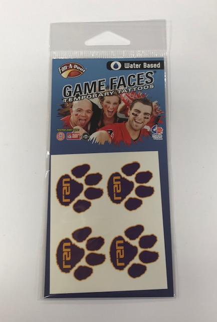 LSU Tigers 4-Pack Purple Paw Original Game Faces Temporary Tattoos
