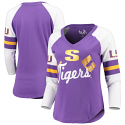 LSU Women's Purple & White Distressed Reflex Raglan Sleeve Top
