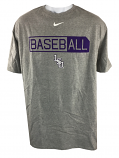 Nike LSU Tigers Men's 3X Short Sleeve Cotton Core Baseball Tee - Grey
