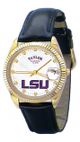 LSU Classic Black Leather Diamond Watch for Men with White Background Custom Made by Taylor Watches