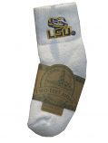 LSU Tigers Child's Quarter Sock with Embroidered LSU Tiger Eye Applique - White