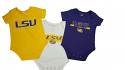 LSU Tigers Colosseum Infant Triple Play Onesie 3-Pack - Purple, Gold & White