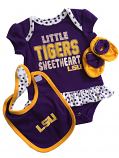 LSU Tigers Infant Girl's 3-Piece Sweetheart Onesie Set - Purple
