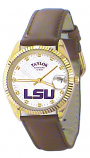 LSU Classic Brown Leather Diamond Watch for Men with White Background Custom Made by Taylor Watches