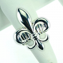 LSU Tigers Silver Plated Fleur de Lis Stretch Band Ring