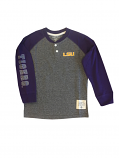 LSU Tigers Toddler and Youth Henley Long Sleeve Tee - Purple and Grey