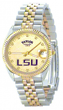 LSU Classic 2-Tone Diamond Watch for Men with Gold Background Custom Made by Taylor Watches