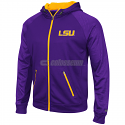 Colosseum LSU Tigers Men's Sleet Embossed Full Zip Hoodie - Purple