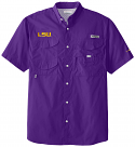 Columbia LSU Tigers Men's Cotton Bonehead Fishing Shirt - Vivid Purple