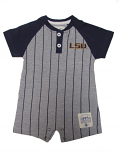 LSU Tigers INFANT Troy Striped Baseball Onesie - Grey and Purple