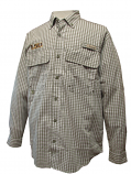 LSU Tigers Men's Channel Woven Checked Fishing Shirt - Khaki and White