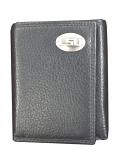 LSU Tigers Pebble Leather Trifold Wallet with Silver LSU Concho - Black